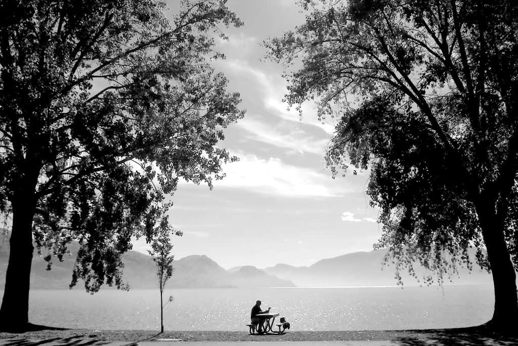 Man sat at picnic table in front of a lake surrounded by trees